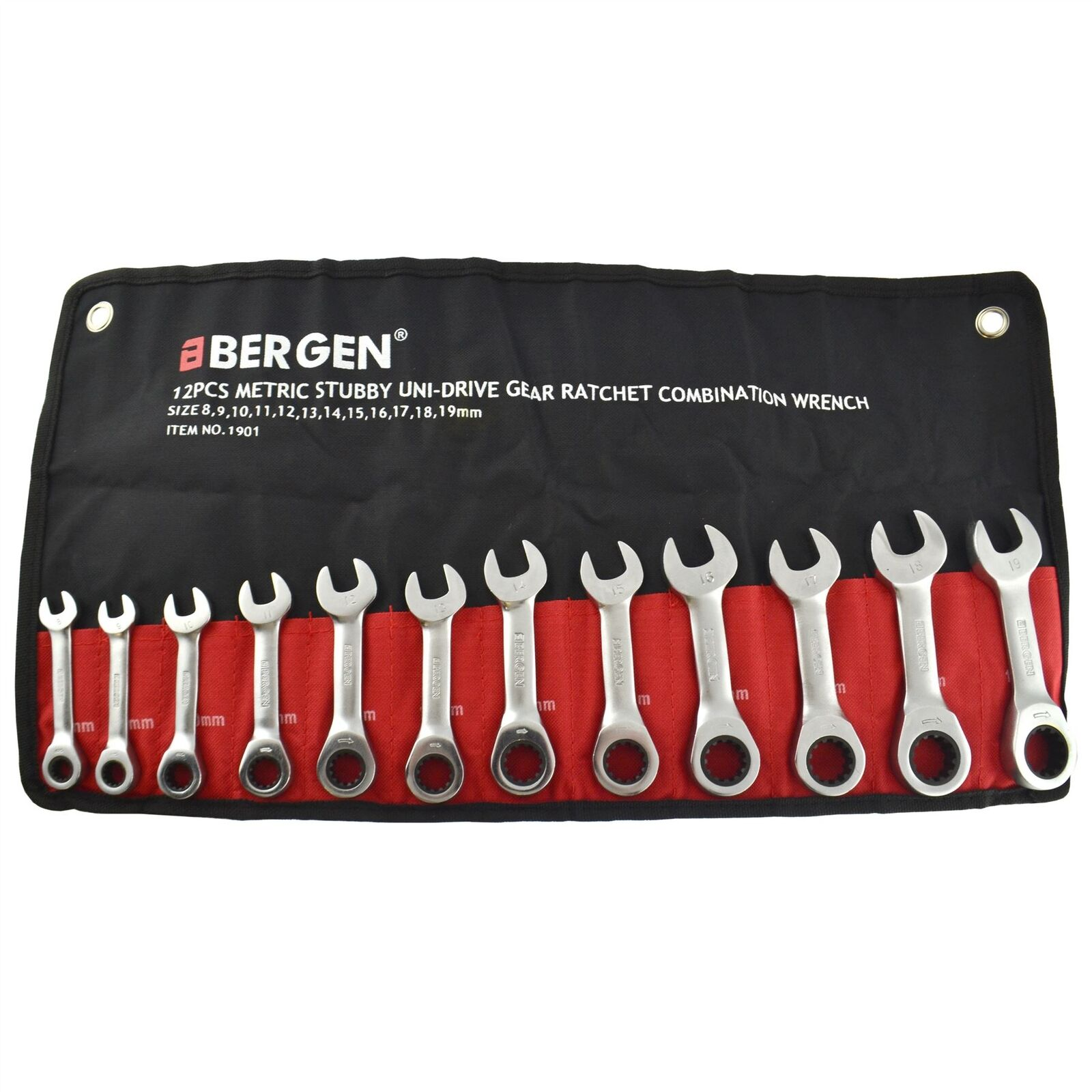 12pc Stubby Metric MM Ratchet Combination Spanner Wrench Set 8mm - 19mm