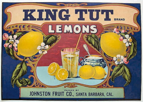 King Tut Lemons Citrus Crate Label Art print Johnston Fruit Santa Barbara CA