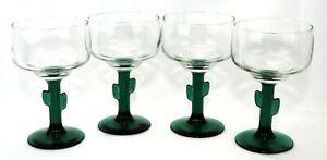 Set-of-4-VTG-Libbey-Margarita-Tequila-Cocktail-Green-Cactus-Stem-Glasses-8-oz
