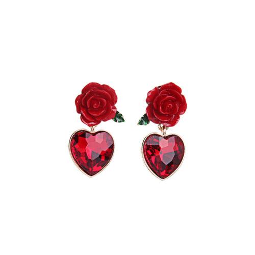 Boucles d/'Oreilles Clous Doré Goutte Rouge Coeur Fleur Rouge Mariage BB 11