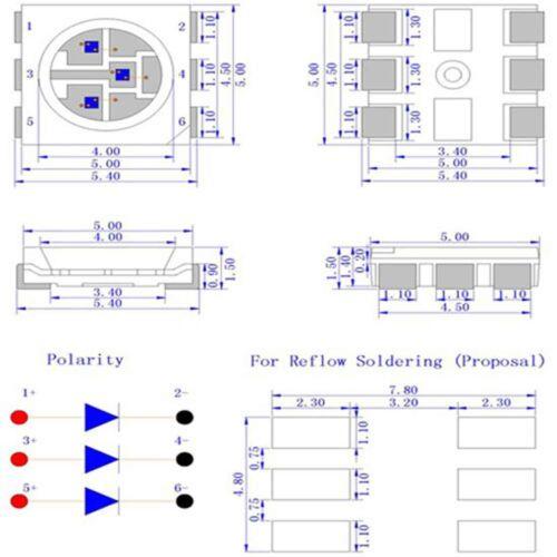 20 x LED PLCC6 5050 Warm Soft White SMD LEDs Light Super Ultra Bright PLCC-6