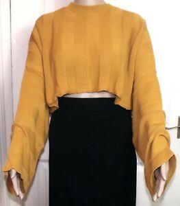 12 Prague Woman/'s Mustard off shoulder cropped top Size 6-10