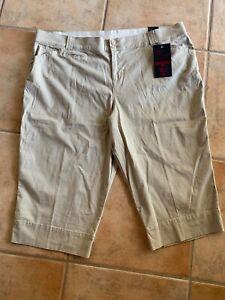 Lane-Bryant-Plus-Womens-Sz-28W-Cropped-Capri-Pants-Beige-Cotton-Spandex