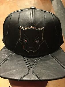 Marvel Comics BLACK PANTHER Suit Up Leather SnapBack Hat. NWT. One ... be4259c7bee