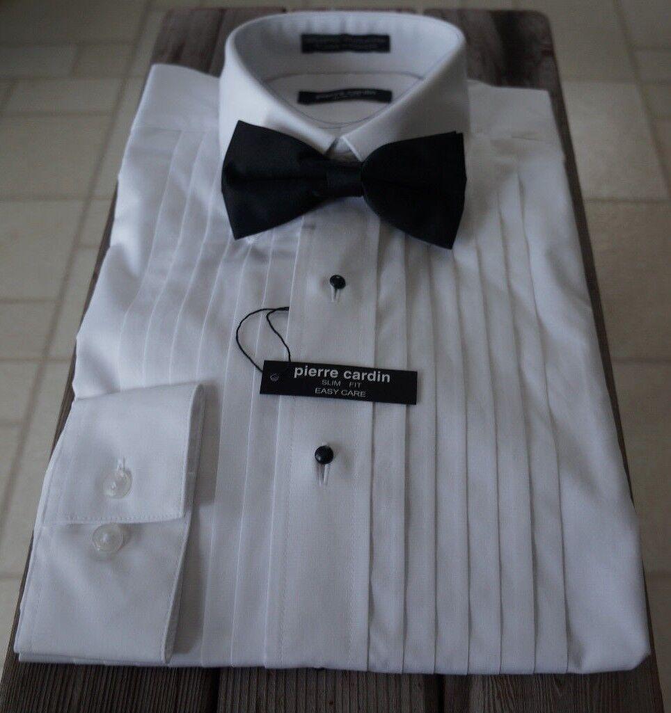 Pierre cardin TUXEDO DRESS SHIRT White Cotton Easy Care Regular Fit 18-18.5 34 5