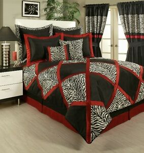 4pc Lush Red White Black Animal Print Pieced Comforter Set
