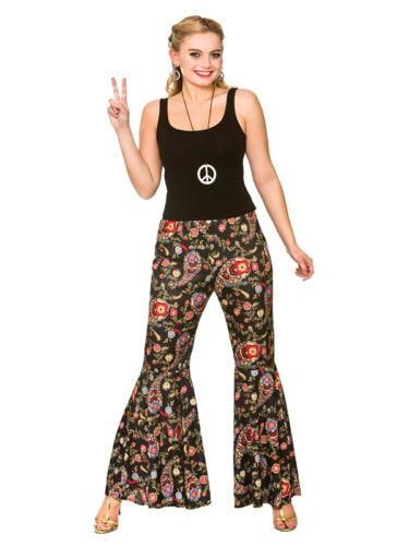 Femme 60s 70s groovy hippie bell bas fusées pantalon robe fantaisie 14-24