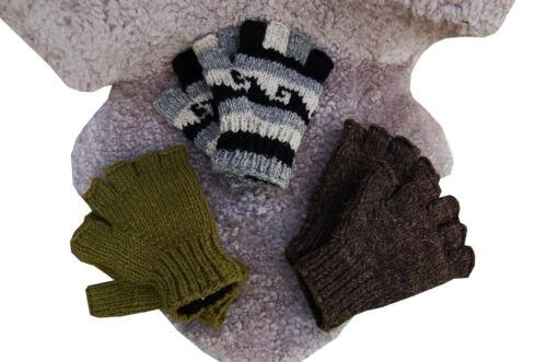 Handschuhe Wolle Fingerlose Wollhandschuhe Handgestrickt  Fingerlinge Strick