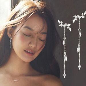Moda-mujer-largo-estilo-coreano-borla-hojas-oreja-gota-cuelga-gancho-pendientes
