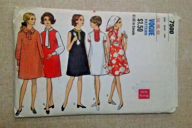 c18b2e5e1bfde Vogue Maternity Dress Pattern 1960's 7500 Mod Size 16 Bust 38 Hip 40 ...