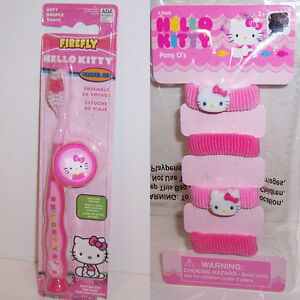 CHILDS HELLO KITTY Suction Cup Soft TOOTHBRUSH w Cap Travel Kit ... 7d6e9551d8f