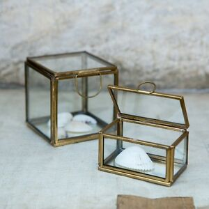 Large Clear Glass Gold Brass Trinket Jewellery Box Rectangular
