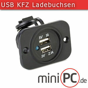 doppel usb 5v einbau steckdose buchse 12v 24v kfz. Black Bedroom Furniture Sets. Home Design Ideas