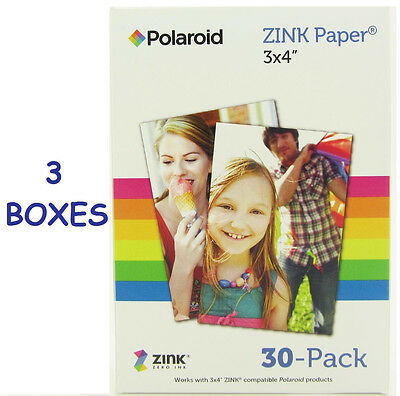 3 Box - 30 Sheets (Total 90) 3x4 Polaroid Zink Photo Paper M34030A for GL10 Z340