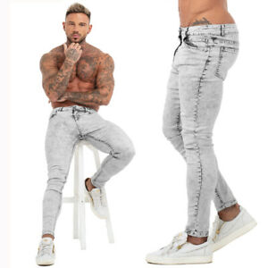 84f69ab1 Details about Gingtto Skinny Jeans Men Slim Fit Ripped Pants Faded Stretch  Light Gray Denim