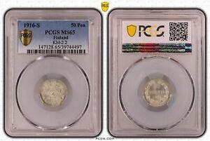 Finnland / Russland 25 Penniä Silber 1916 s Stempelglanz PCGS MS65 51865
