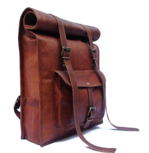 Leather Roll Bag S Men Backpack Genuine Travel Top Rucksack New Brown women Bag