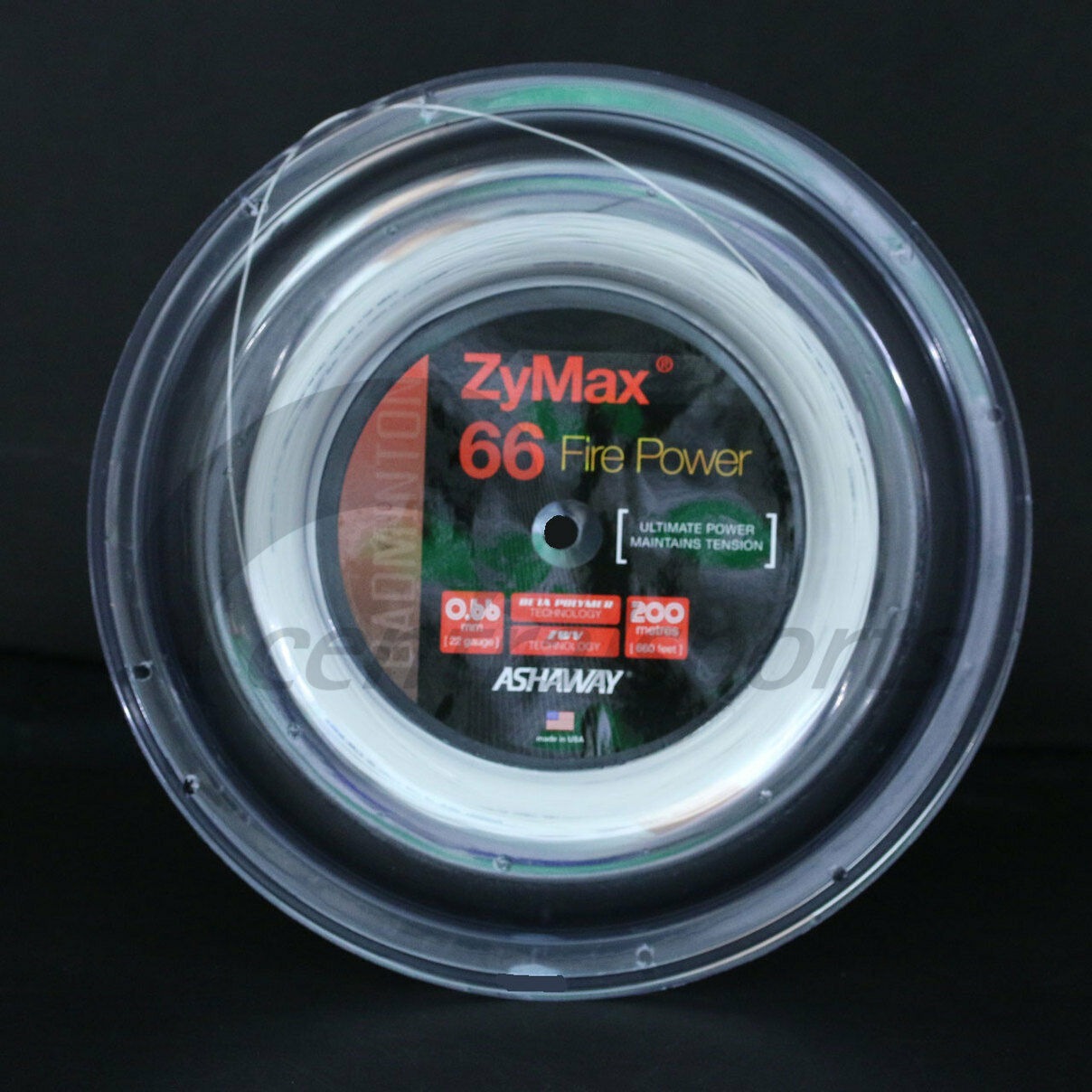 ASHAWAY ZYMAX 66 FIRE POWER 200M COIL BADMINTON RACKET STRING Weiß COLOUR