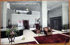 1915-Postcard-039-Hotel-Churchill-Lobby-Interior-San-Diego-California-CA-039