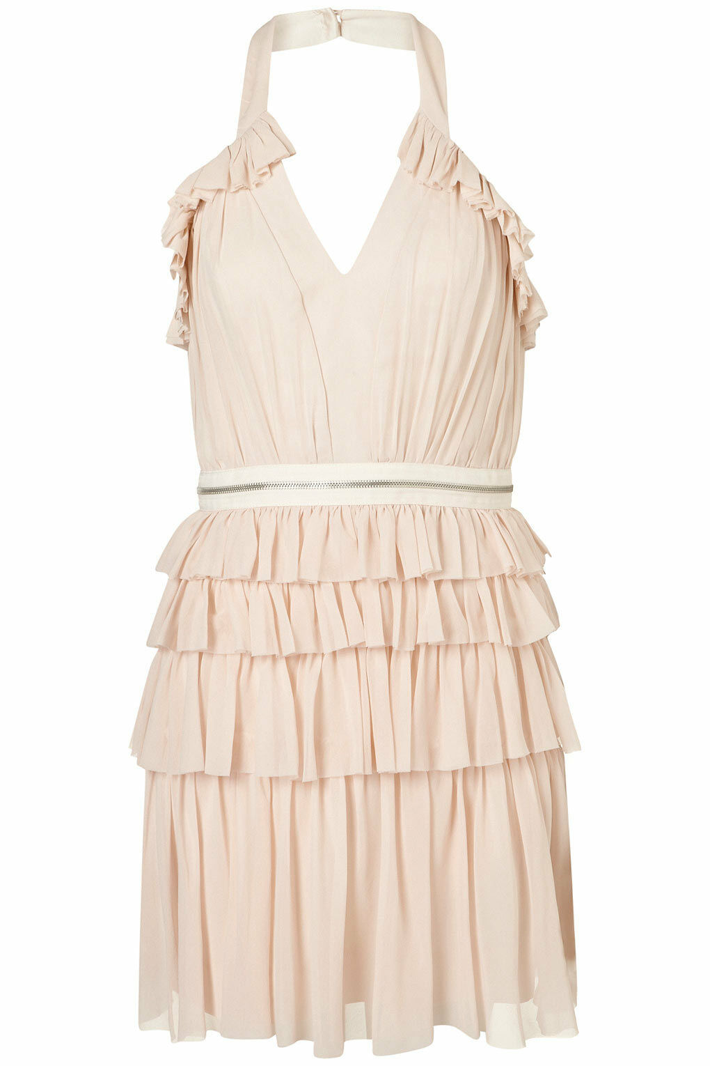 TOPSHOP PALE PINK PINK PINK NUDE SILK RUFFLE HALTER DRESS LIMITED EDITION 14 42 10 9d61a1