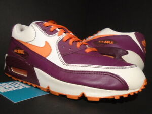Details about 07 NIKE AIR MAX 90 LEATHER SAIL OFF WHITE ORANGE BLAZE GARNET RED 302519 181 10