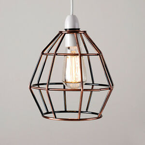 Copper vintage industrial style cage ceiling pendant light lamp image is loading copper vintage industrial style cage ceiling pendant light mozeypictures Gallery