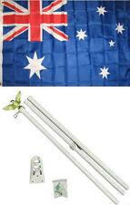 3x5 Australia Australian Flag White Pole Kit Set 3'x5'