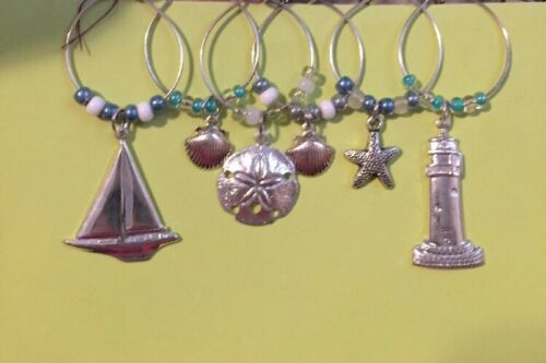 Wine Charms Sailboat Set Of 6 Each Come In An Organza Gift Bag