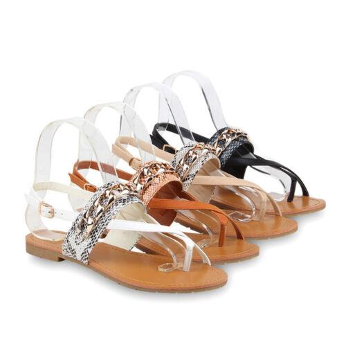 Damen Sandalen Zehentrenner Ketten Snake Print Flats 76544 Schuhe