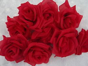 12 Rosenbluten Rot Rote Rosen Kunstlich 7 Cm Deko Hochzeit