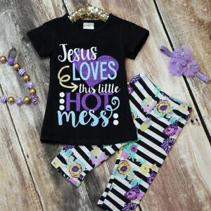 Toddler-Kids-Baby-Girls-Outfits-Clothes-T-shirts-Tops-Dress-Long-Pants-3PCS-Set