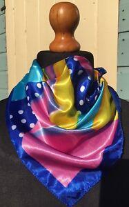 Gorgeous,bright colourful design 50cmx50cm. Silky satin,neckerchief