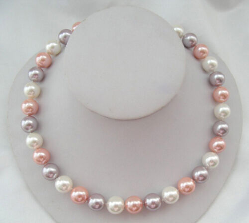 """New 8 10 12 14mm white pink purple South Sea Shell Pearl Necklace 18/"""" AAA+"""