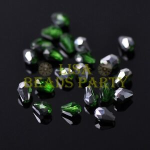 New-100pcs-5X3mm-Teardrop-Crystal-Glass-Spacer-Loose-Beads-Green-amp-Silver
