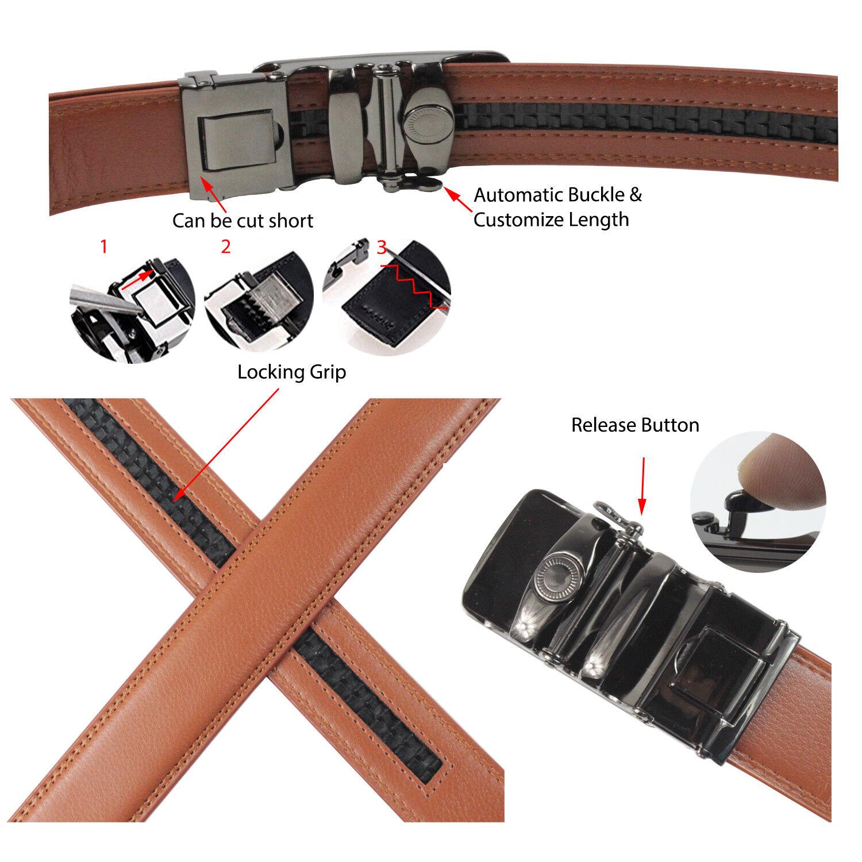 Glamexx24 Herren Automatik Gürtel in Kunst Leder verschiedenen Farben Längen