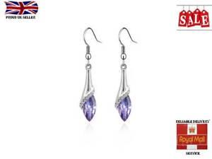 Women Sterling Crystal Silver Drop Long Dangle Hook Earrings Jewelry for Ladies