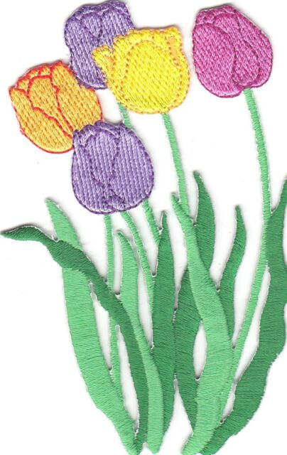 """FLOWERS-TULIPS, MULTI COLORED SPRING FLOWERS(4"""" x 2 1/2"""")-Iron On Patch,Flowers"""