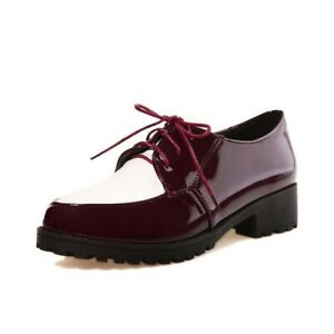 Womens-Round-Toe-Lace-Up-Patent-Leather-Flat-Heels-Shoes-Multi-Colored-US4-10-5
