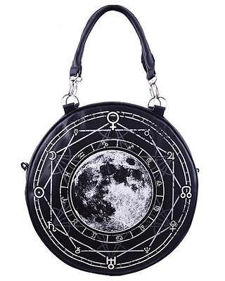 Luna Full Moon Round Hand Bag Purse Gothic Punk Alternative Psychobilly Grunge