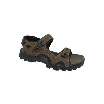 Roamers IRVINE Mens Genuine Leather Hiking Sports Touch Fasten Sandals Brown