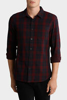 Maddox Lincoln Long Sleeve Check Shirt Burgundy
