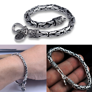 Solid-925-Sterling-Silver-Byzantine-Chain-Handmade-4MM-Bracelet-jewelry-Gift