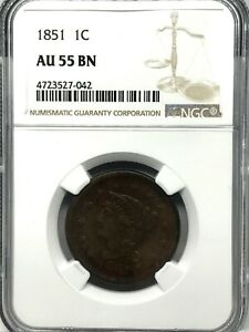 1851 1¢ Braided Hair Large Cent – NGC AU 55 BN -About Uncirculated Original.