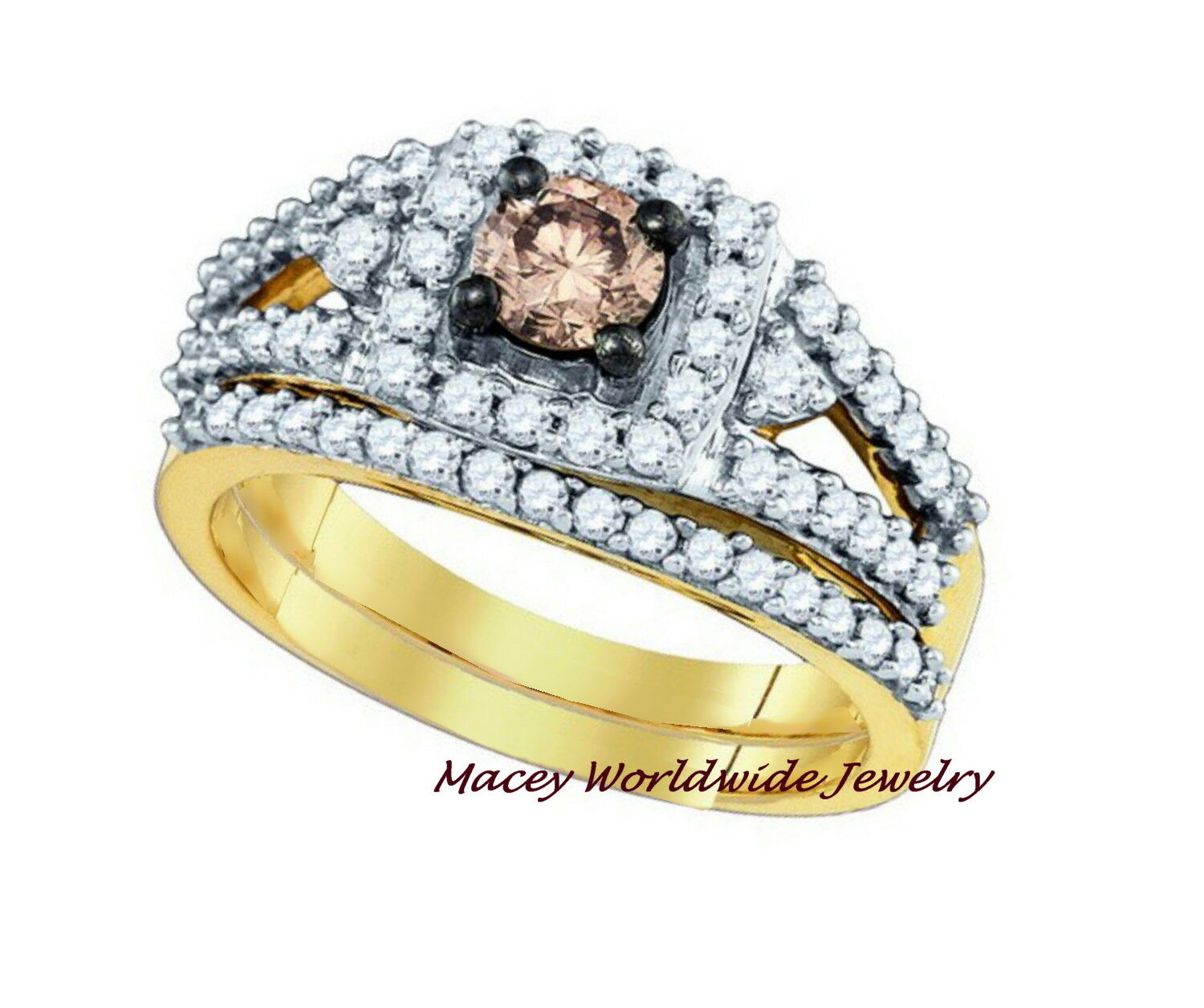Brandy Diamond® Chocolate Brown 14K gold Stunning Princess Bridal Ring Set