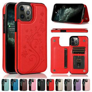 Magnetic Leather Wallet Case Card Holder For iPhone SE 12Pro Max Flip Back Cover
