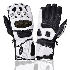 Leather-Gloves-Motorcycle-Motorbike-Racing-Carbon-Knuckle-White-Winter