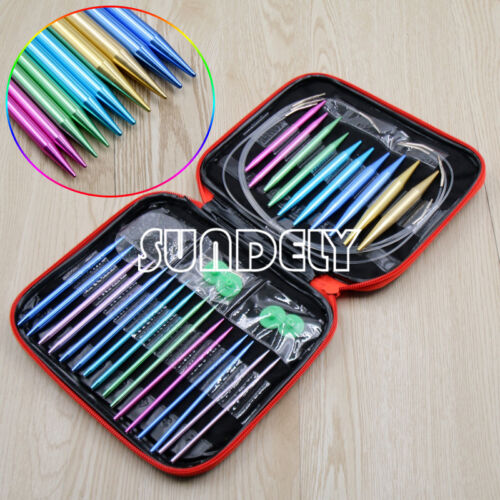 UK NEW Interchangeable 13 Sizes Circular Knitting Needle Set 2.75mm-10mm in Case