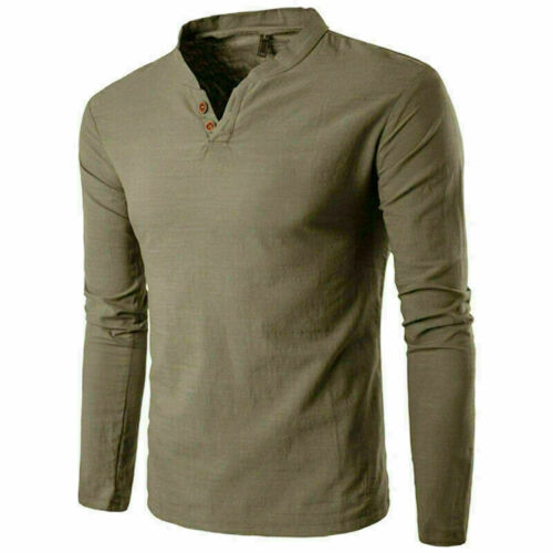 Fashion Men Stylish T-Shirt T Long Sleeve Shirt V-neck Casual Slim ee shirt