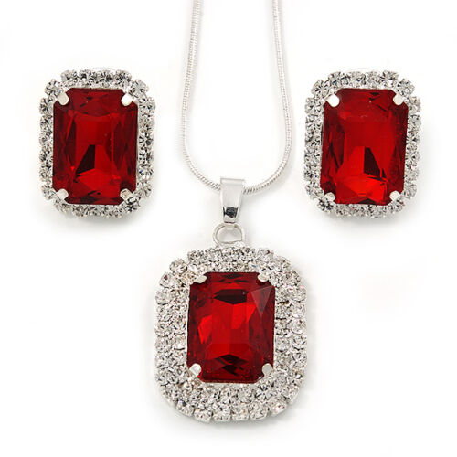 Red/ Clear Crystal Square Pendant with Silver Tone Chain and Stud Earrings Set