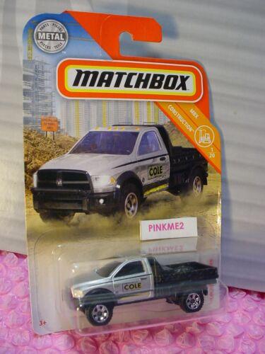 2019 Matchbox #24 RAM FLATBED truck☆silver//black;yellow//blue☆COLE CONSTRUCTION 1